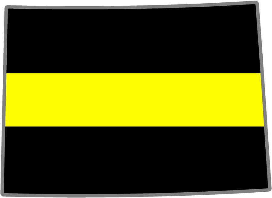 "5"" Colorado CO Thin YELLOW Line Black State Shape Sticker"