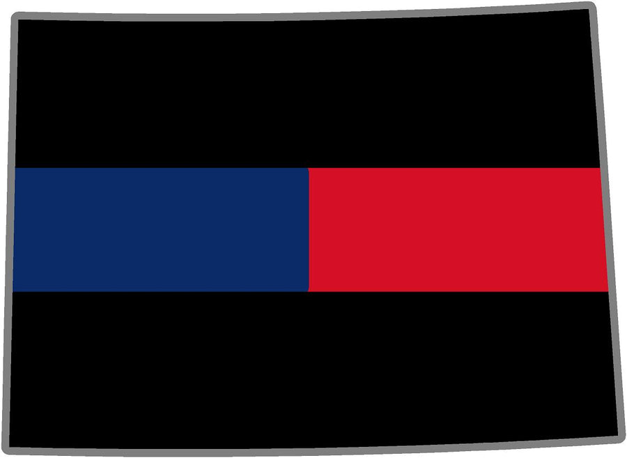 "5"" Colorado CO Thin Blue / Red Line Black State Shape Sticker"