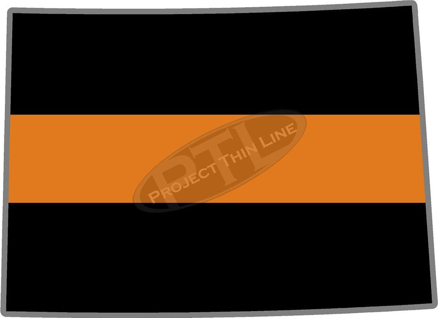 "5"" Colorado CO Thin Orange Line Black State Shape Sticker"