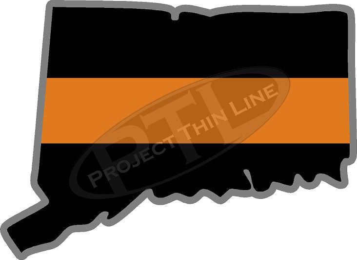 "5"" Connecticut CT Thin Orange Line Black State Shape Sticker"