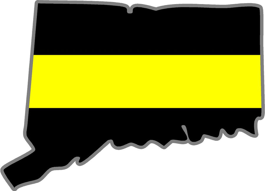 "5"" Connecticut CT Thin YELLOW Line Black State Shape Sticker"