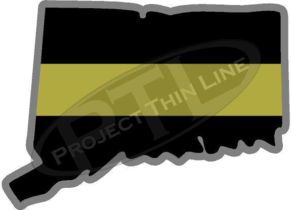 "5"" Connecticut CT Thin Gold Line State Sticker Decal"