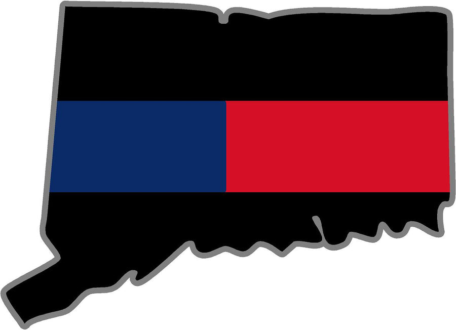 "5"" Connecticut CT Thin Blue / Red Line Black State Shape Sticker"