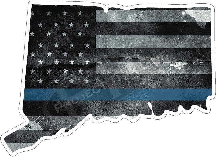 "5"" Connecticut CT Tattered Thin Blue Line State Sticker Decal"
