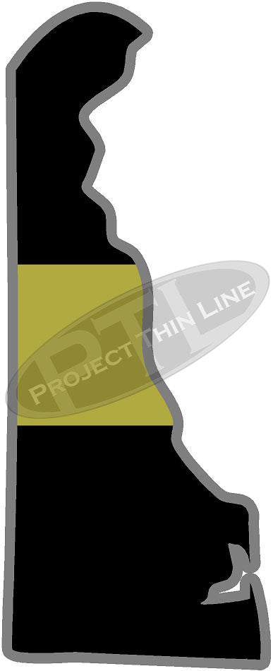 "5"" Delaware DE Thin Gold Line State Sticker Decal"