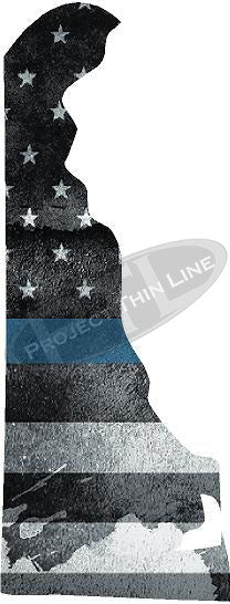 "5"" Delaware DE Tattered Thin Blue Line State Sticker Decal"