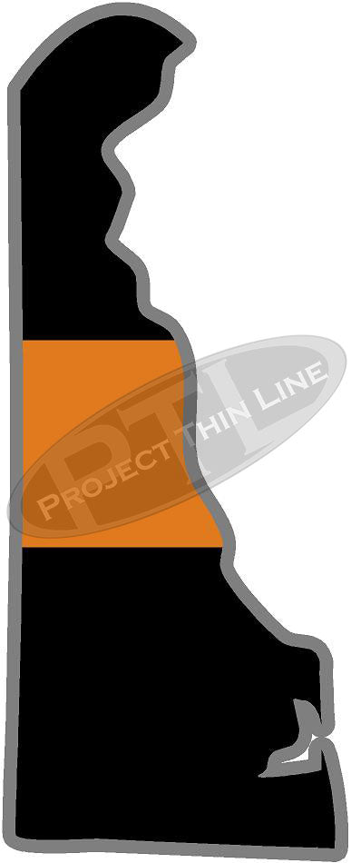 "5"" Delaware DE Thin Orange Line Black State Shape Sticker"