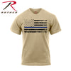 Rothco Thin Blue Line T-Shirt Desert Sand Short Sleeve w Tattered Flag