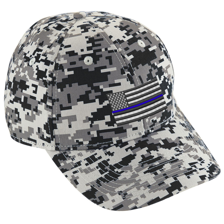 Embroidered Thin Blue Line American Flag Digital Camo Hat