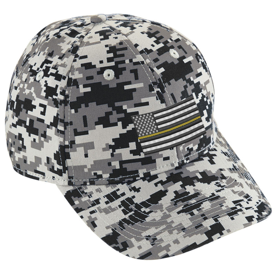 Digital Camo Baseball Hat embroidered Thin Gold Line American Flag
