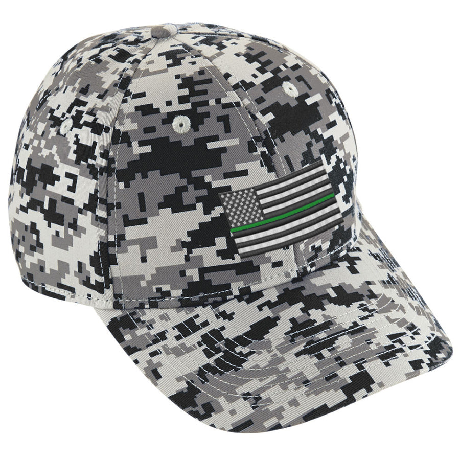 Embroidered Thin GREEN Line American Flag Digital Camo Hat