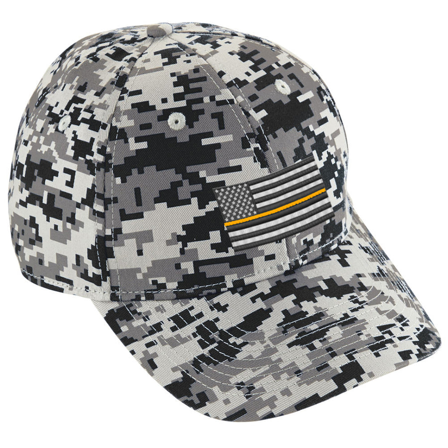 Embroidered Thin ORANGE Line American Flag Digital Camo Hat