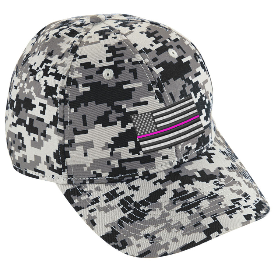 Embroidered Thin PINK Line American Flag Digital Camo Hat