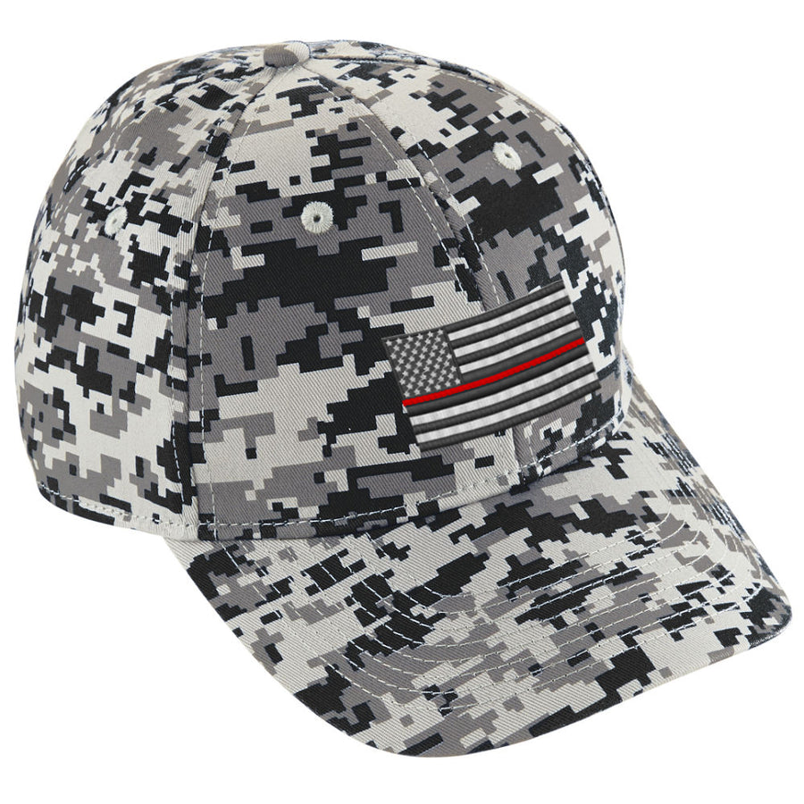 Embroidered Thin RED Line American Flag Digital Camo Hat