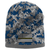 Blue Camouflage Thin GOLD Line American FLAG Skull Cap