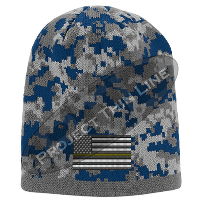 Blue Camouflage  Skull Cap with embroidered Subdued Thin ORANGE Line American Flag