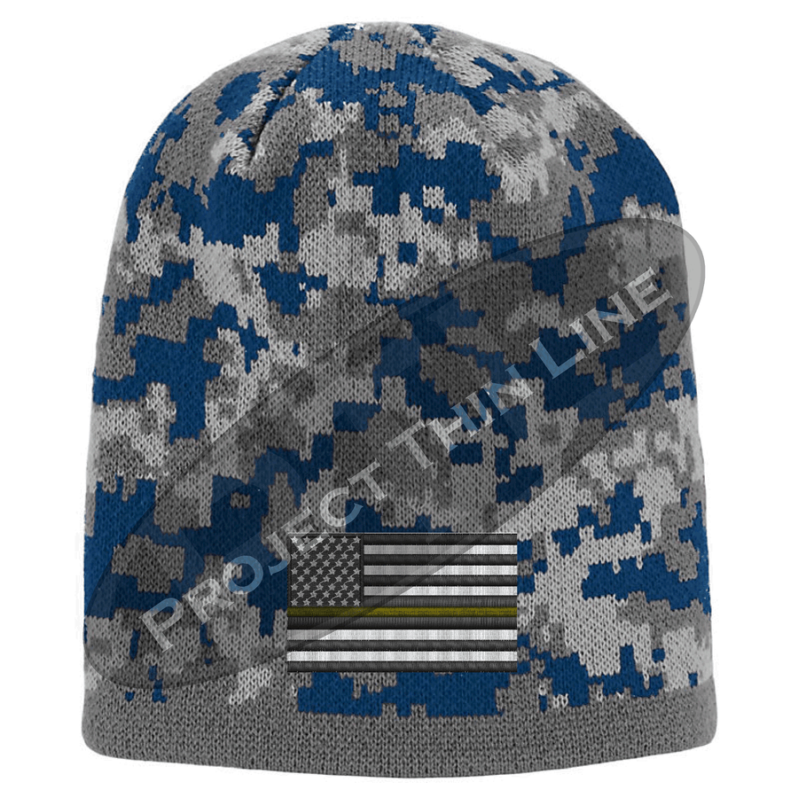 Camoflauge Thin ORANGE Line American Flag Skull Cap