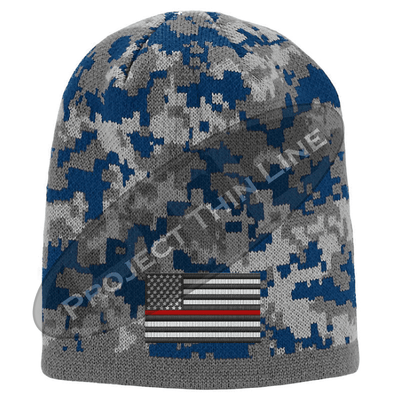 Blue Camo subdued Thin Red Line American Flag