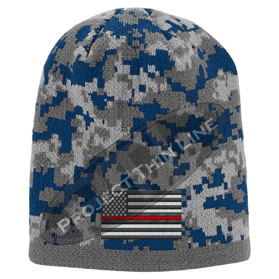 Camouflage Subdued Thin RED Line American FLAG Skull Cap