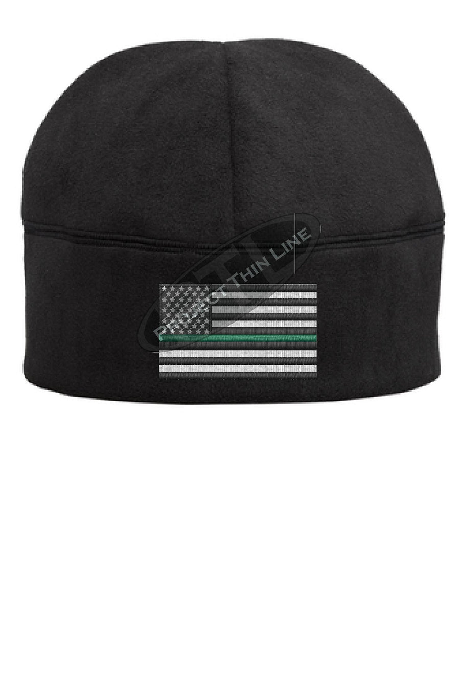 Thin GREEN Line Flag Fleece Beanie