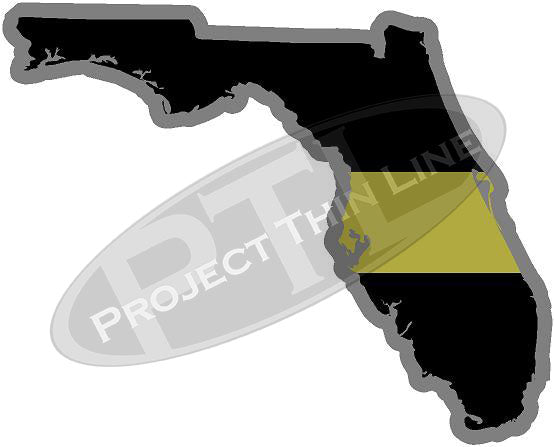 "5"" Florida FL Thin Gold Line State Sticker Decal"