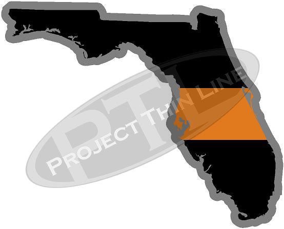 "5"" Florida FL Thin Orange Line Black State Shape Sticker"