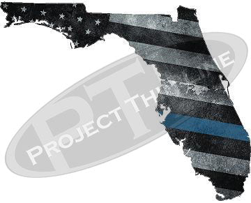 "5"" Florida FL Tattered Thin Blue Line State Sticker Decal"