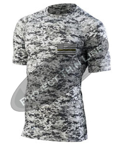 Digital Camo Short Sleeve Compression embroidered Thin Gold Line Subdued American Flag