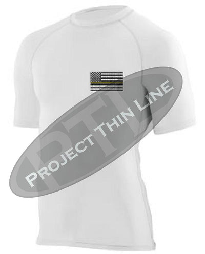 White Short Sleeve Compression embroidered Thin Gold Line Subdued American Flag