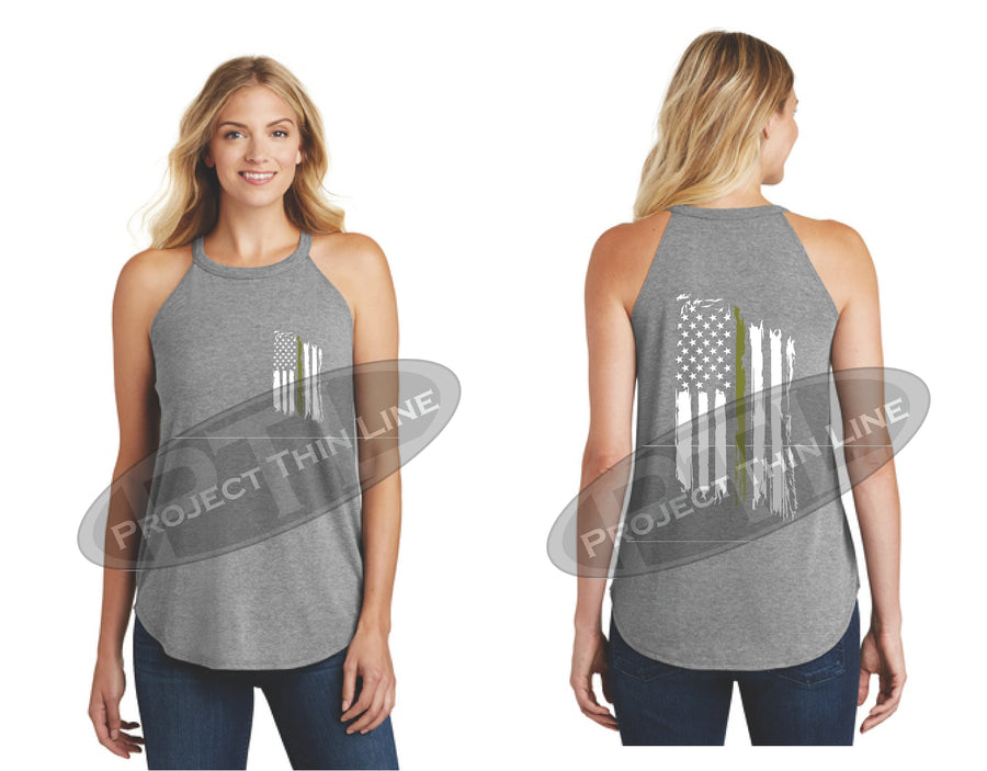 Black Tattered Thin GOLD Line American Flag Rocker Tank Top