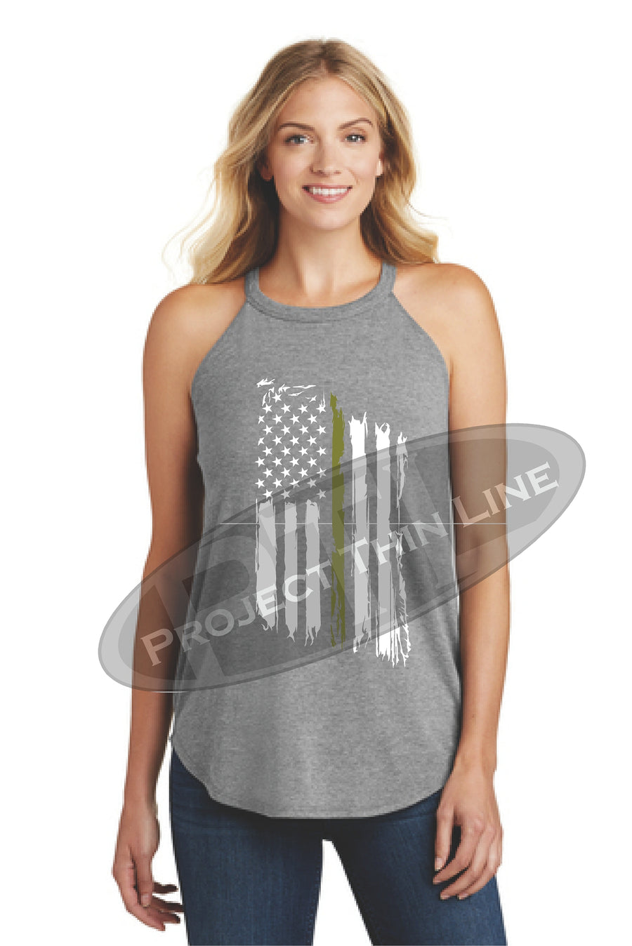 Black Tattered Thin GOLD Line American Flag Rocker Tank Top - FRONT