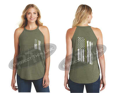 OD Green Tattered Thin GOLD Line American Flag Rocker Tank Top