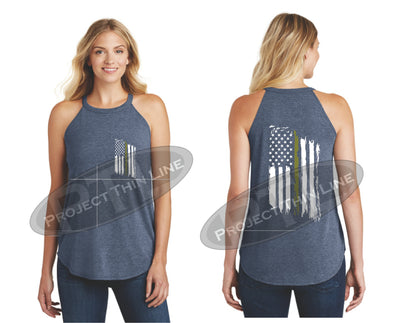 Navy Tattered Thin GOLD Line American Flag Rocker Tank Top