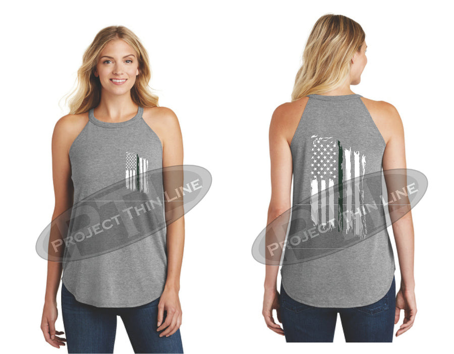 Black Tattered Thin GREEN Line American Flag Rocker Tank Top