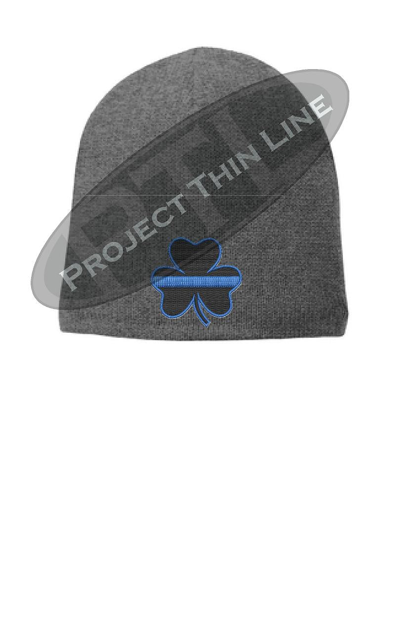 Grey Thin BLUE Line Shamrock Clover FLEECE LINED Skull Cap