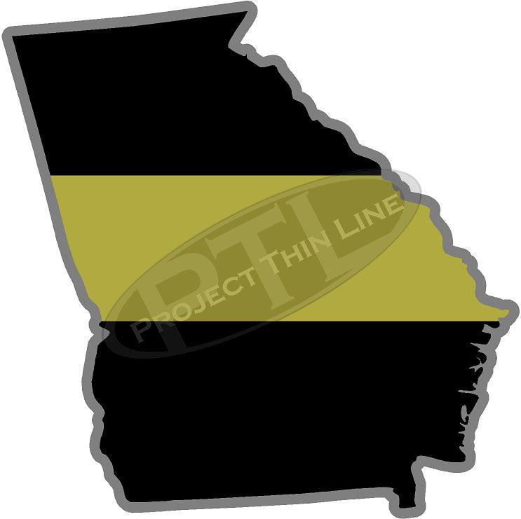 "5"" Georgia GA Thin Gold Line State Sticker Decal"