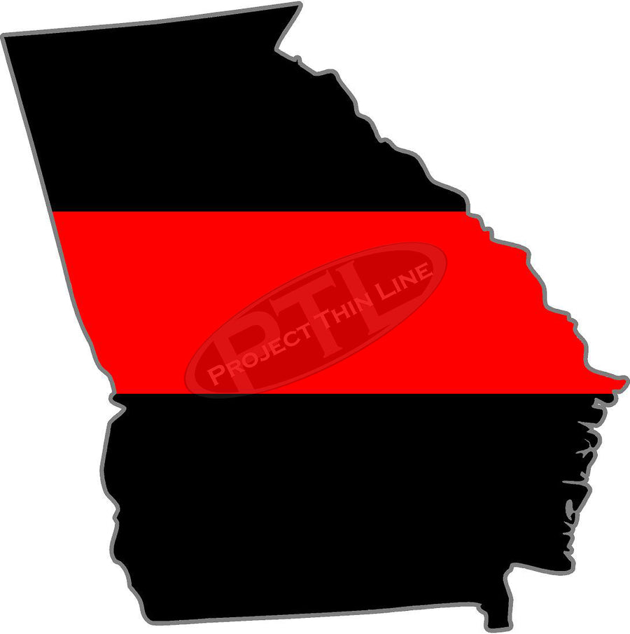 "5"" Georgia GA Thin Red Line State Sticker Decal"