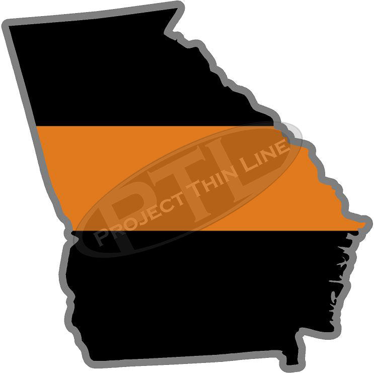 "5"" Georgia GA Thin Orange Line Black State Shape Sticker"