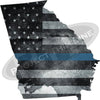 "5"" Georgia GA Tattered Thin Blue Line State Sticker Decal"