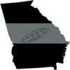 "5"" Georgia GA Thin Silver Line Black State Shape Sticker"