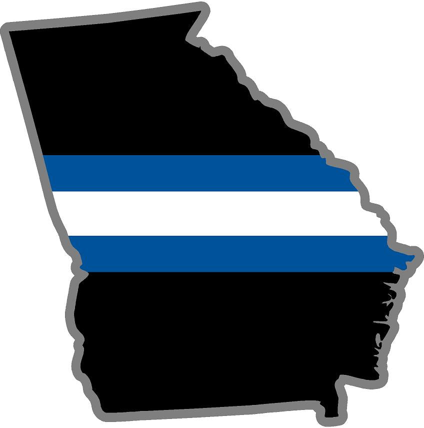 "5"" Georgia GA Thin Blue White Line Black State Shape Sticker"