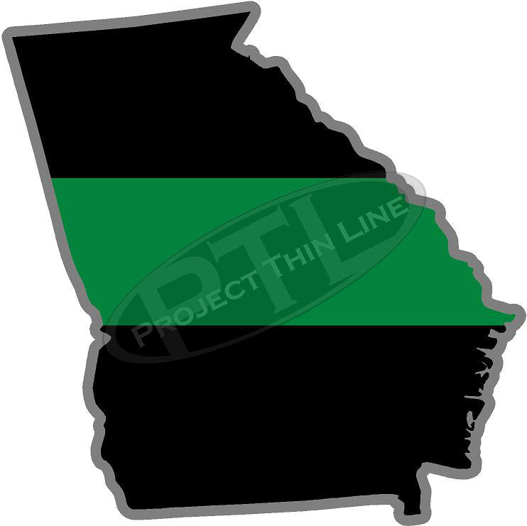 "5"" Georgia GA Thin Green Line Black State Shape Sticker"