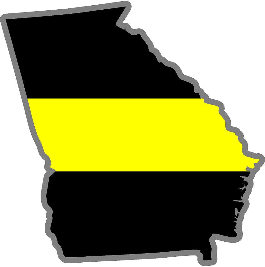 "5"" Georgia GA Thin Yellow Line Black State Shape Sticker"