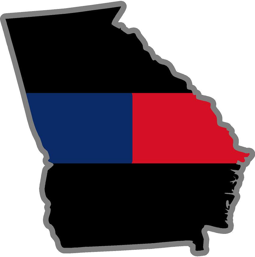 "5"" Georgia GA Thin Blue / Red Line Black State Shape Sticker"