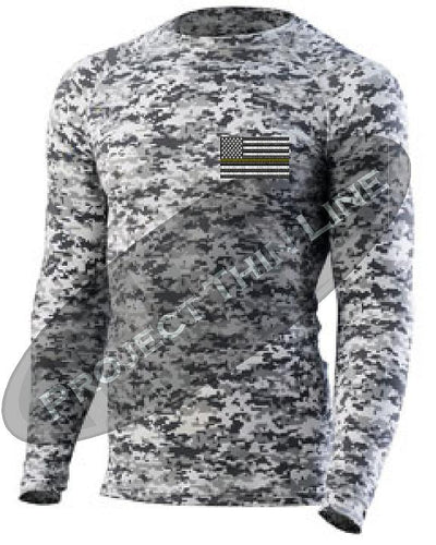 Digital Camo Long Sleeve Compression embroidered Thin YELLOW  Line Subdued American Flag