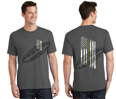 Charcoal Thin GOLD Line Tattered American Flag Short Sleeve Shirt