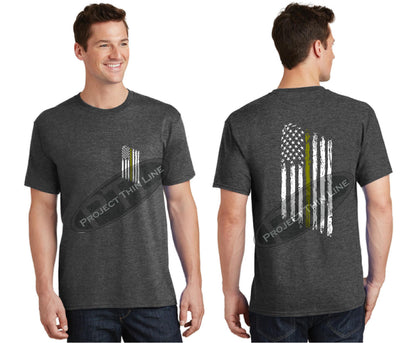 Dark Grey Thin GOLD Line Tattered American Flag Short Sleeve Shirt