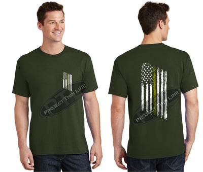 OD Green Thin GOLD Line Tattered American Flag Short Sleeve Shirt