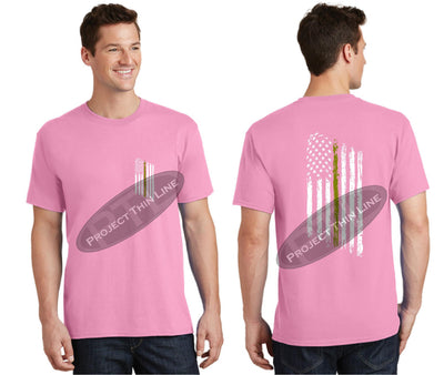 Pink Thin GOLD Line Tattered American Flag Short Sleeve Shirt