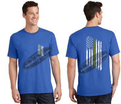 Royal Blue Thin GOLD Line Tattered American Flag Short Sleeve Shirt